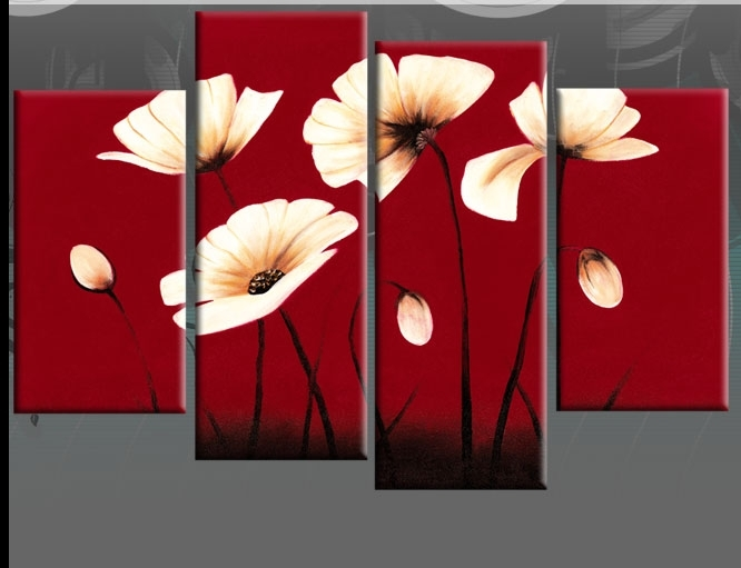 Red Flower Canvas Wall Art – Dronemploy #e29D2Eef646C Intended For Red Flowers Canvas Wall Art (View 2 of 15)
