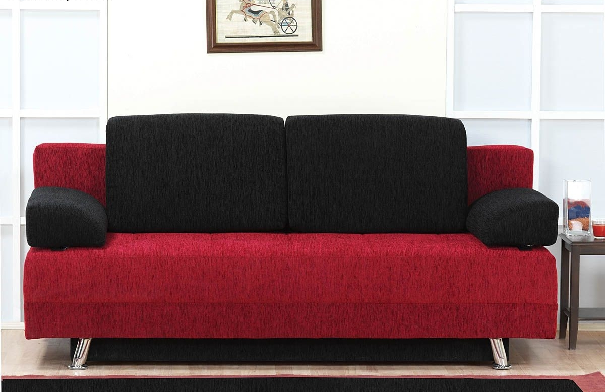 Red Futon Basement (View 2 of 10)