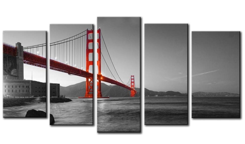 Red Golden Gate Bridge On Black And White Background – 5 Panel Regarding Golden Gate Bridge Canvas Wall Art (View 11 of 15)