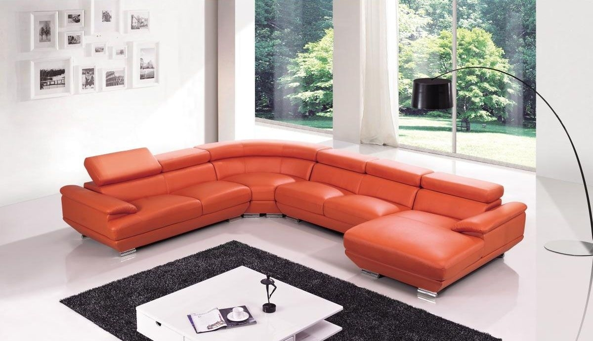 Red Leather Four Pieces Extra Large Modern Sectional Sofa North Pertaining To North Carolina Sectional Sofas (Image 8 of 10)