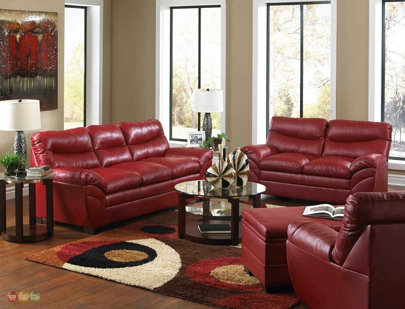 Red Leather Living Room Furniture | Living Room Decor Inside Red Leather Couches For Living Room (Image 7 of 10)