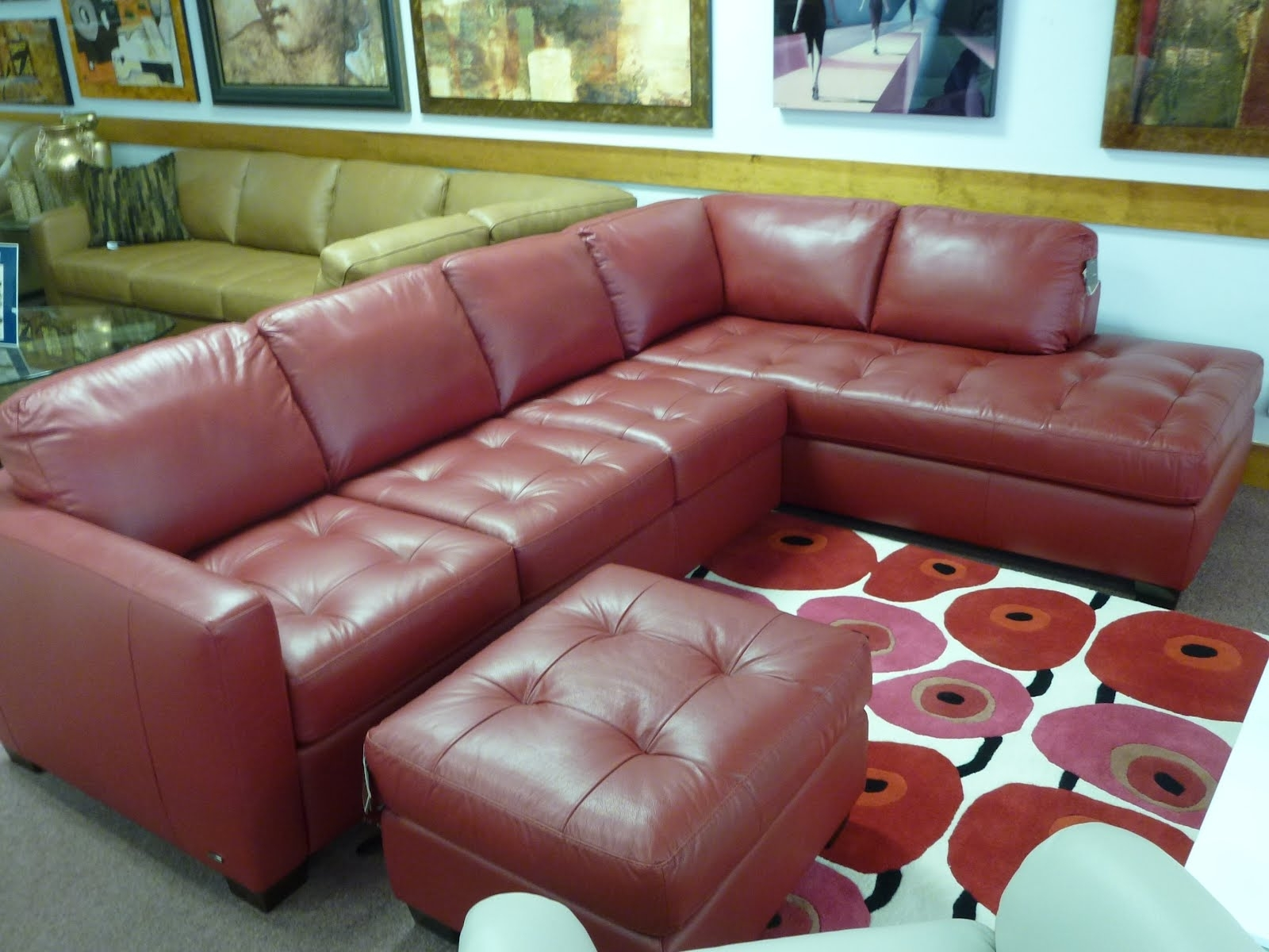 Red Leather Sectional Sofa | Red Leather Sectional Sofa With Chaise Inside Red Leather Sectional Sofas With Ottoman (Image 8 of 10)