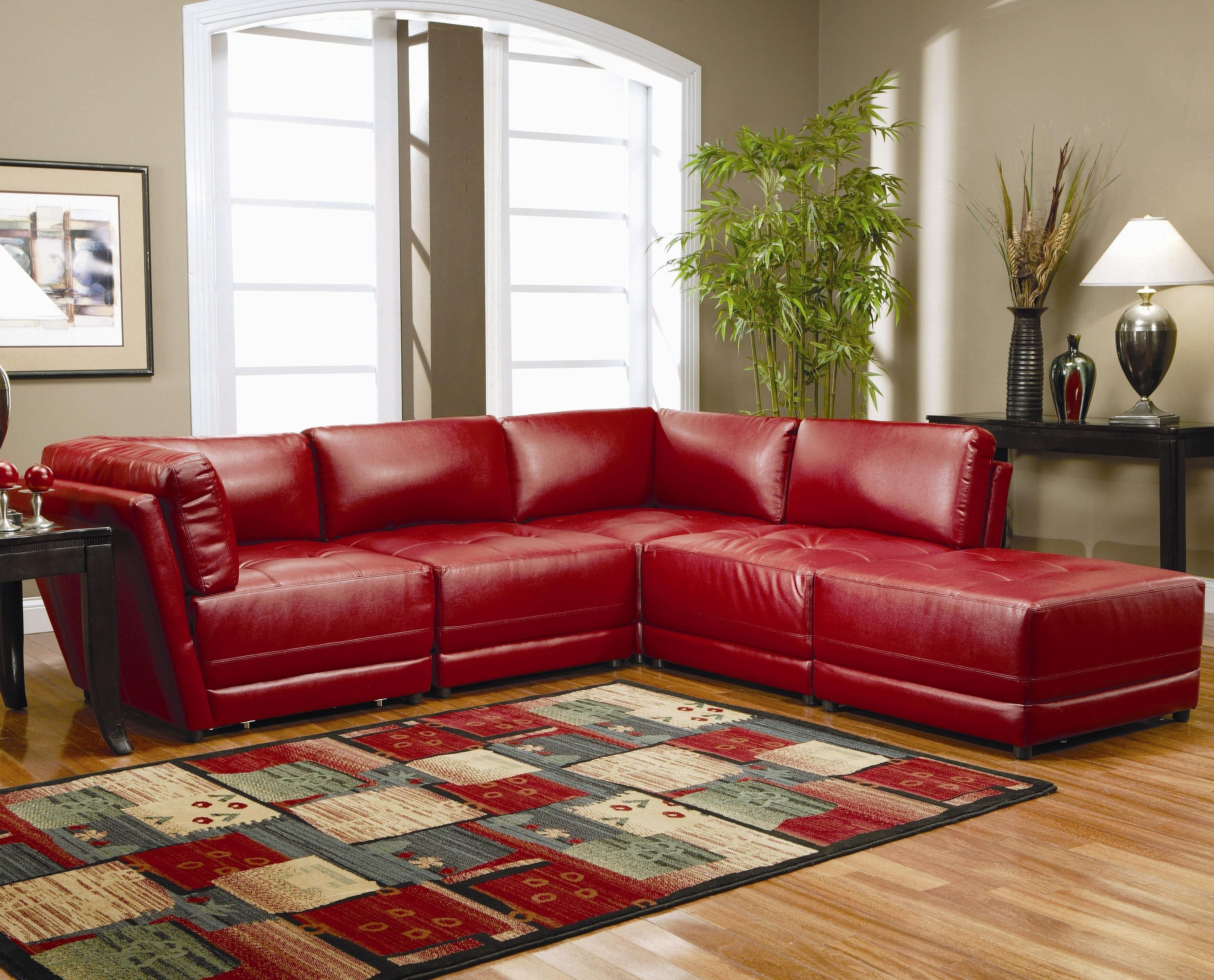 Red Leather Sectional Sofa Sale - Hotelsbacau within Red Leather Sectional Couches