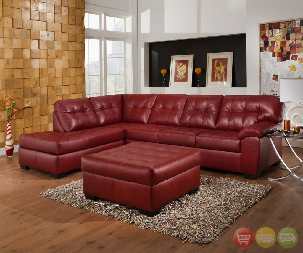 Red Leather Sectional Sofa With Chaise Leather Sectional Sofa Red In Red Leather Sectional Couches (View 4 of 10)
