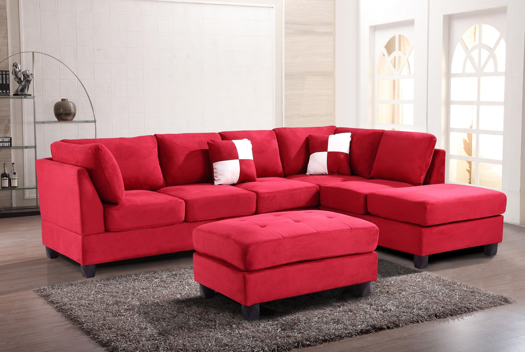 Red Leather Sectionalas For Salea With Chaise Fabric Couch Ottoman Regarding Red Sectional Sofas With Ottoman (Image 8 of 10)