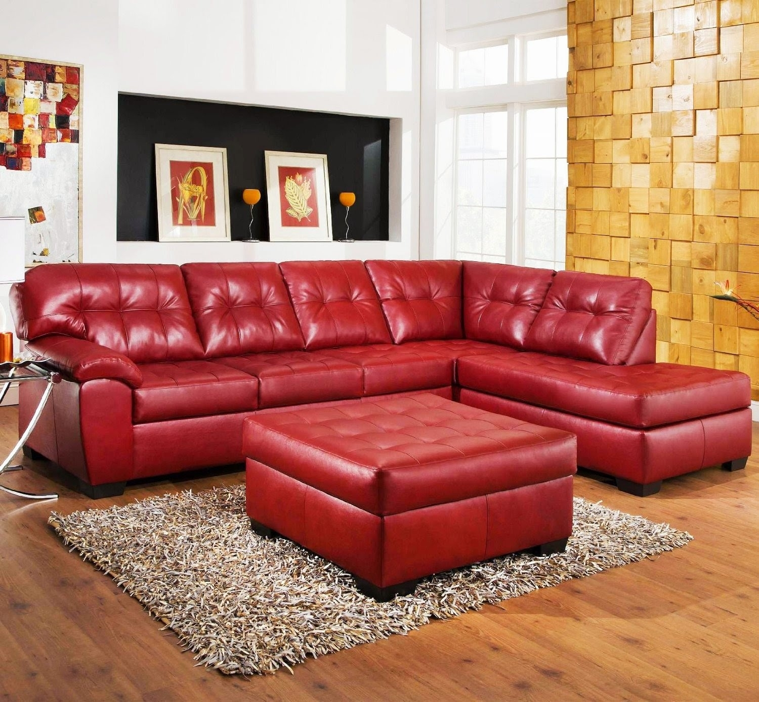 Red Leather Sofas And Loveseats Compact Nightstands Ottomans Regarding Red Leather Couches And Loveseats (Image 7 of 10)