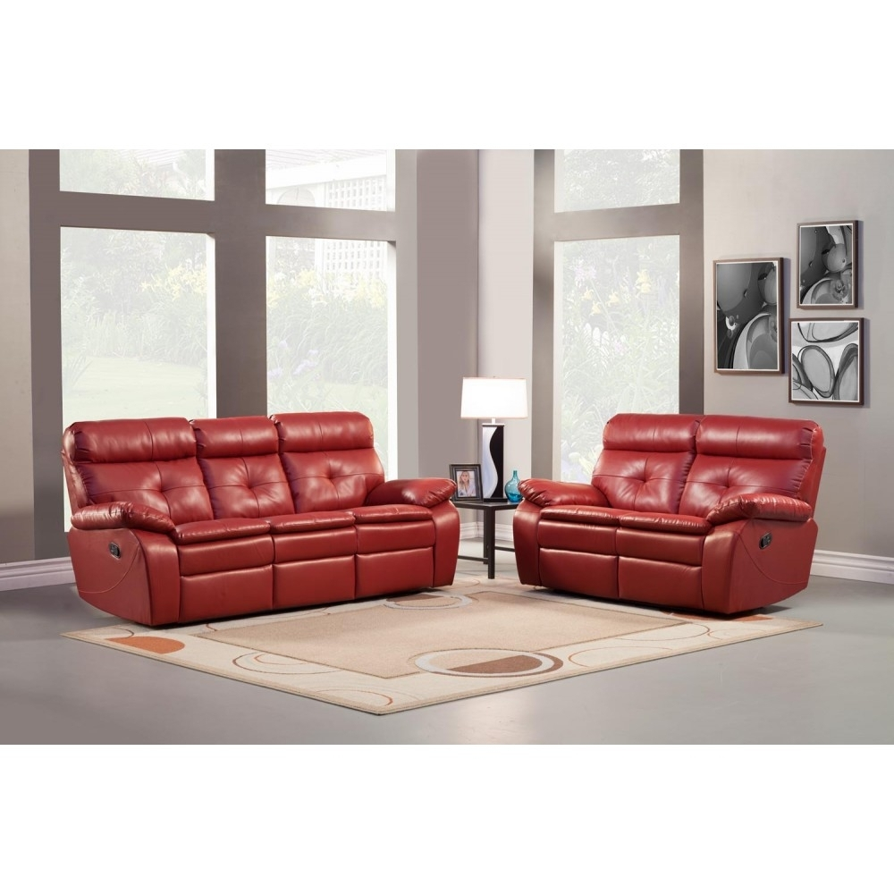 Red Leather Sofas And Loveseats Compact Nightstands Ottomans With Red Leather Reclining Sofas And Loveseats (Image 8 of 10)