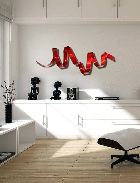 Red Metal Wall Decor – Freecolors Within Abstract Outdoor Metal Wall Art (Image 13 of 15)