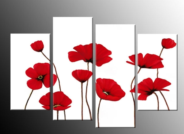 Red Poppies On White 4 Panel Canvas Wall Art Picture 40 Inch 101Cm With Regard To Poppies Canvas Wall Art (View 2 of 15)
