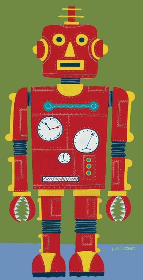 Red Robot Canvas Wall Artoopsy Daisy – Rosenberryrooms With Regard To Robot Canvas Wall Art (View 6 of 15)