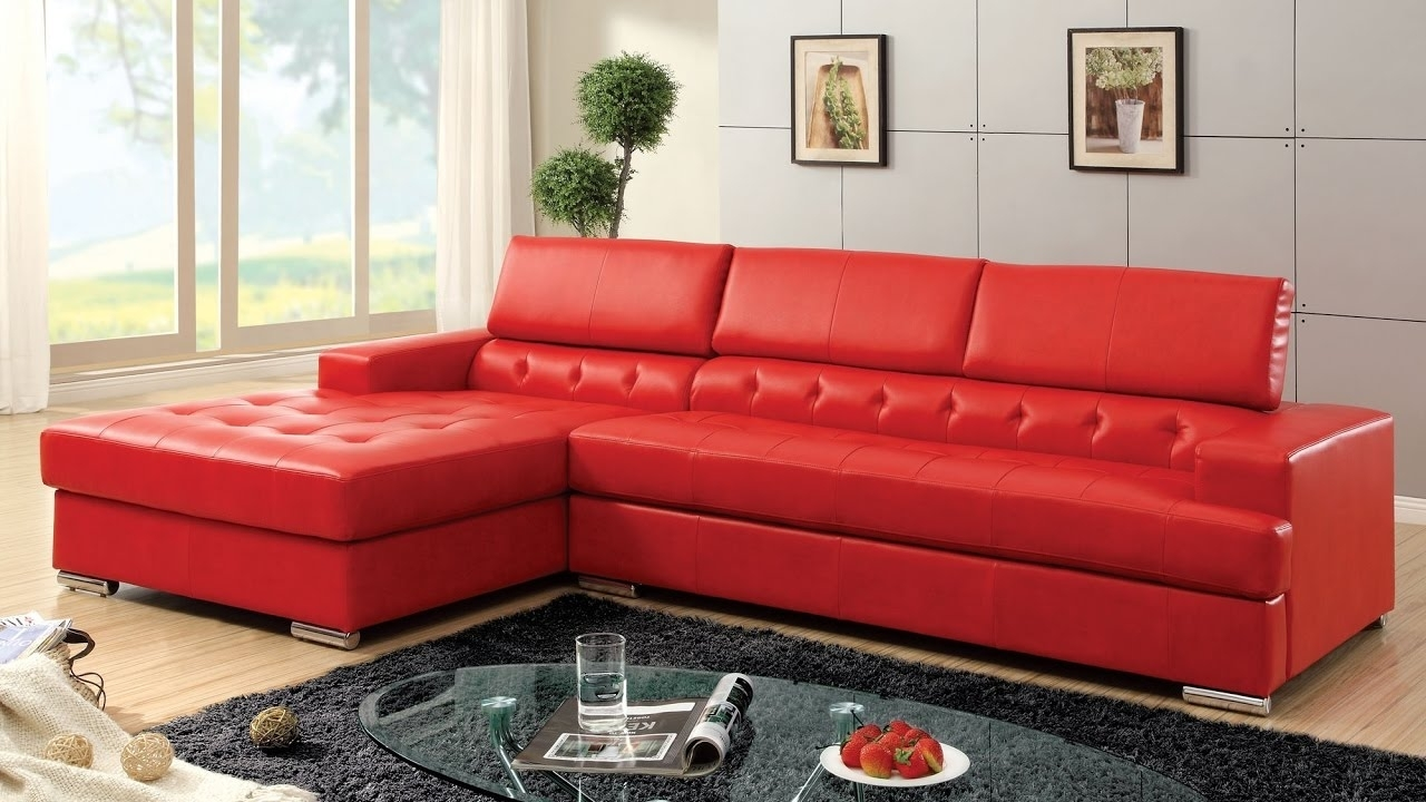 Red Sectional Sofa Be Equipped Cheap Red Sectional Be Equipped Within Small Red Leather Sectional Sofas (Image 4 of 10)