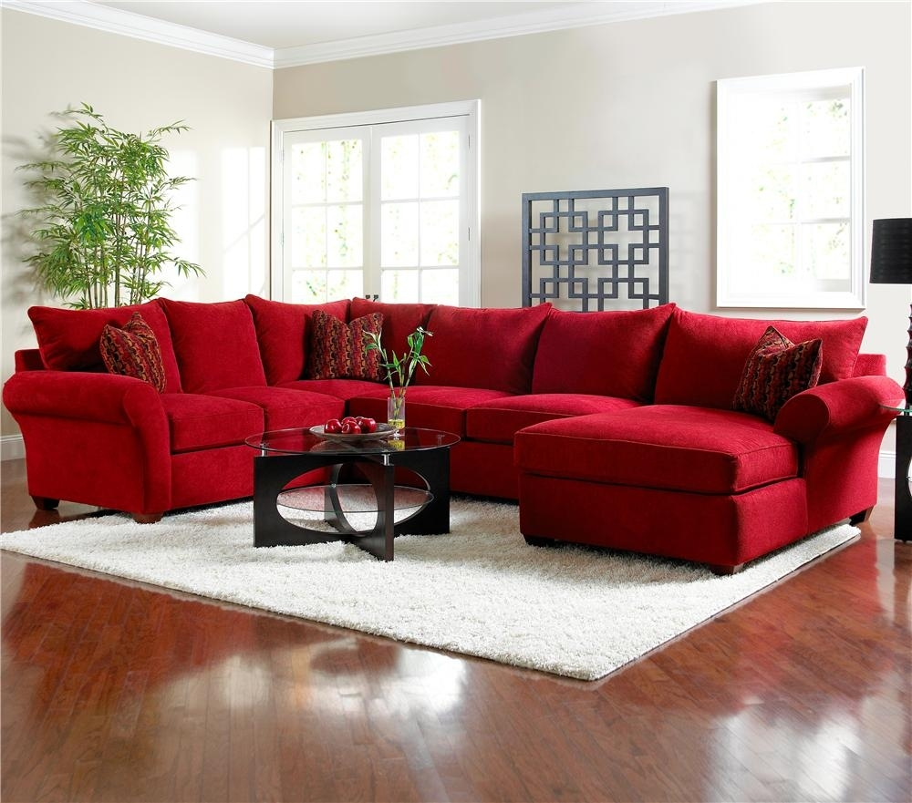 Red Sectional Sofa Be Equipped Red Microfiber Sectional Sofa Be Regarding Red Sectional Sofas With Ottoman (Image 9 of 10)