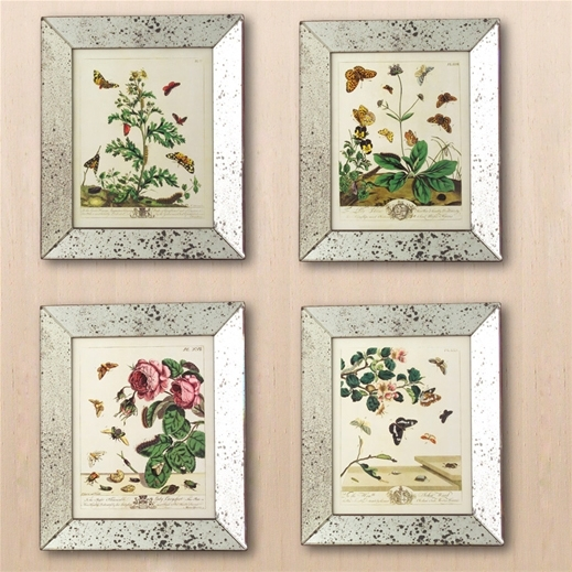 Reflection Butterfly Mirror Framed Art Prints Set Of 4: Set In Inside Framed Art Prints Sets (Image 10 of 15)
