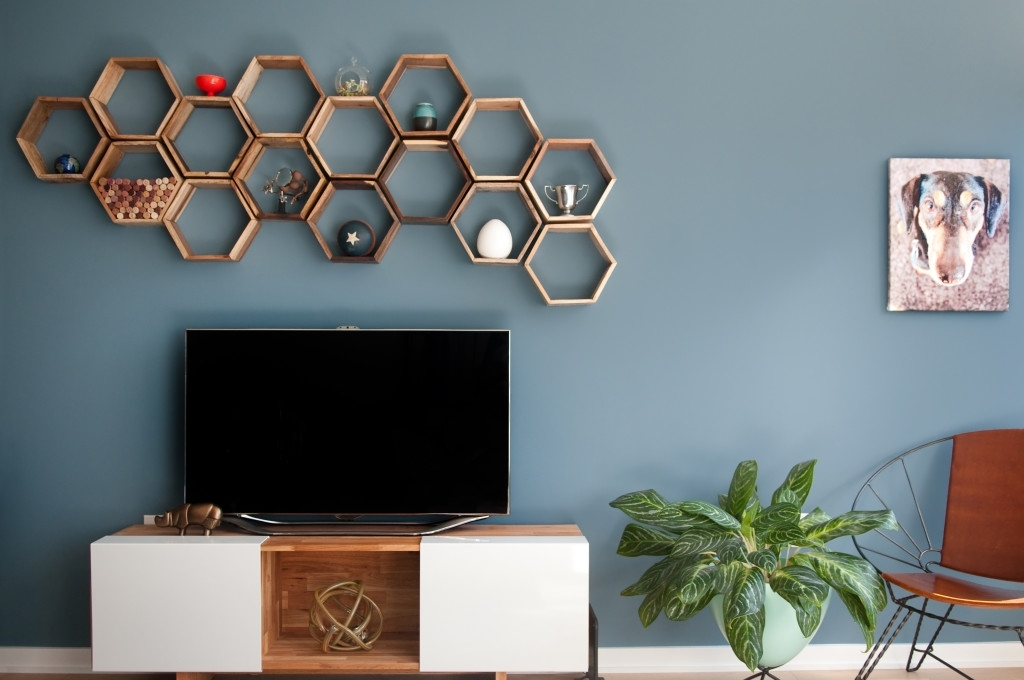 Remodelaholic | 95 Ways To Hide Or Decorate Around The Tv For Wall Accents Behind Tv (View 6 of 15)