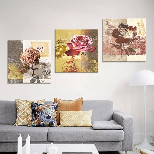 Retro Canvas Wall Art Print Oil Painting Vintage Flower Canvas Regarding Retro Canvas Wall Art (View 11 of 15)