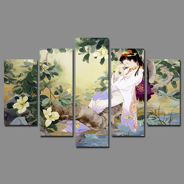 Retro Japan Style Sleeping Beauty Pictures Decoration Flowers Tree For Japanese Canvas Wall Art (Image 12 of 15)