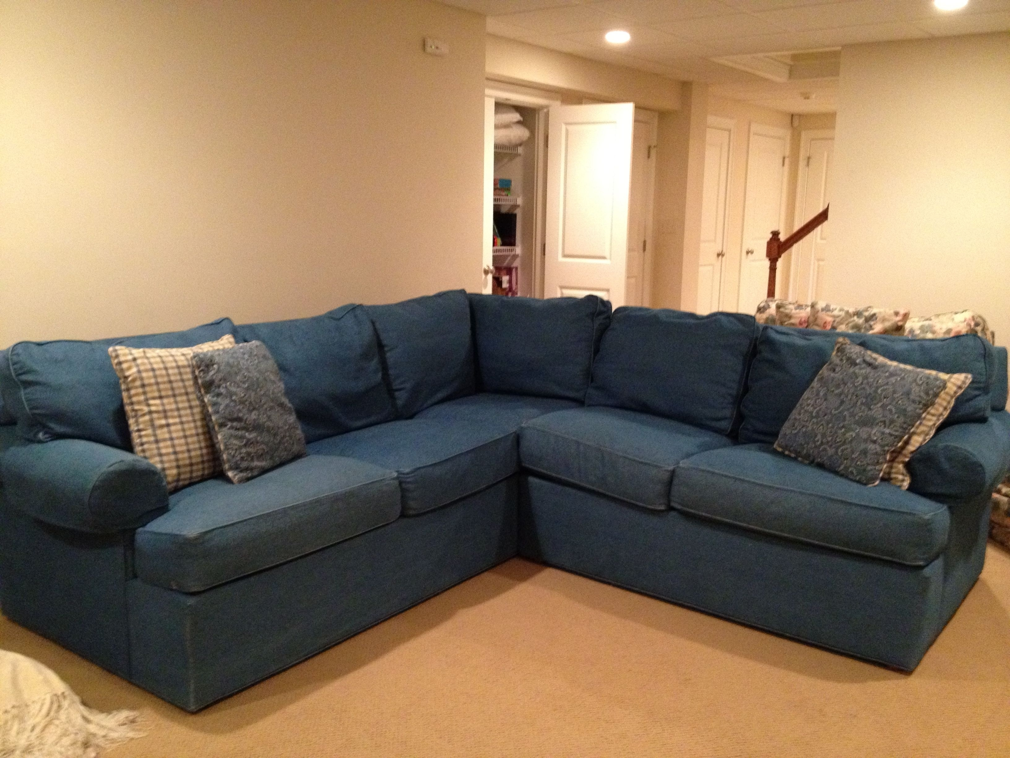 Right Sectional Sofa Denim Sofas Left Arm Ivy Polyester Facing With For Regina Sectional Sofas (Image 6 of 10)