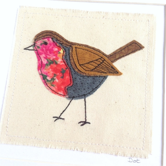 Robin Embroidery Hoop Framed Wall Art Picture Gift, Personalised Within Fabric Applique Wall Art (View 12 of 15)