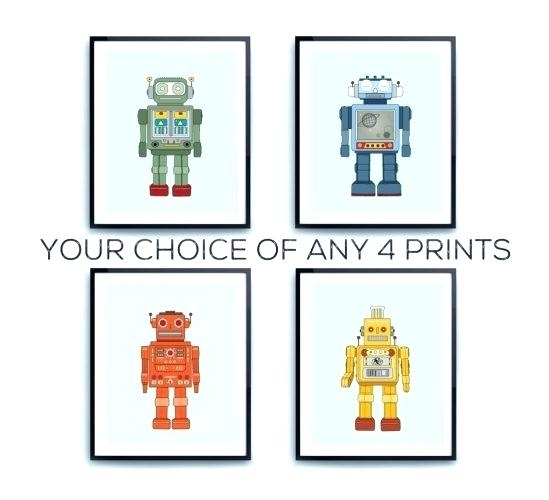 Robot Wall Art Robot Friends Nursery Wall Art Decor Boys Kids Diy Inside Robot Canvas Wall Art (Image 11 of 15)