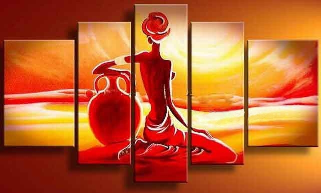 Romantic Women And Men Lovers Sunset Asian Landscape Wall Hunging Regarding India Abstract Wall Art (View 7 of 15)