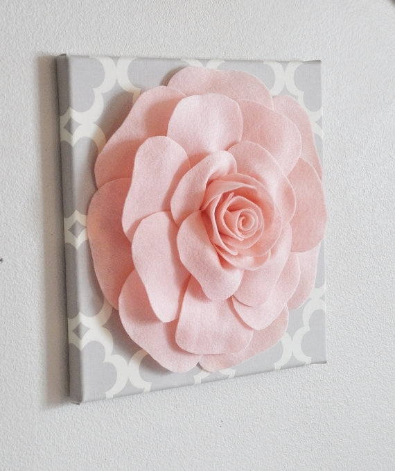 Rose Wall Hanging Light Pink Rose On Neutral Gray Tarika 12 Pertaining To Roses Canvas Wall Art (View 13 of 15)