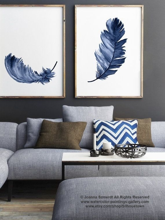 Royal Blue Feather Print Set 2 Canvas Feathers Watercolor Painting Regarding Abstract Living Room Wall Art (Image 13 of 15)