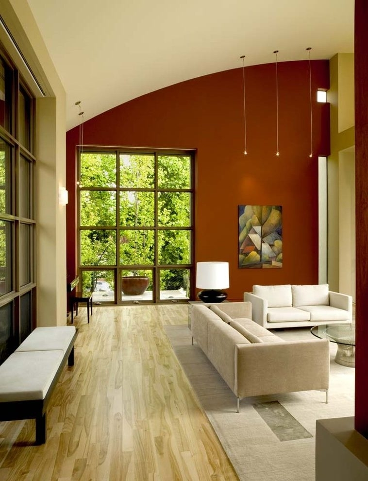 Rust Paint Color Living Room Contemporary With Earth Tone Colors With Earth Tones Wall Accents (Image 15 of 15)