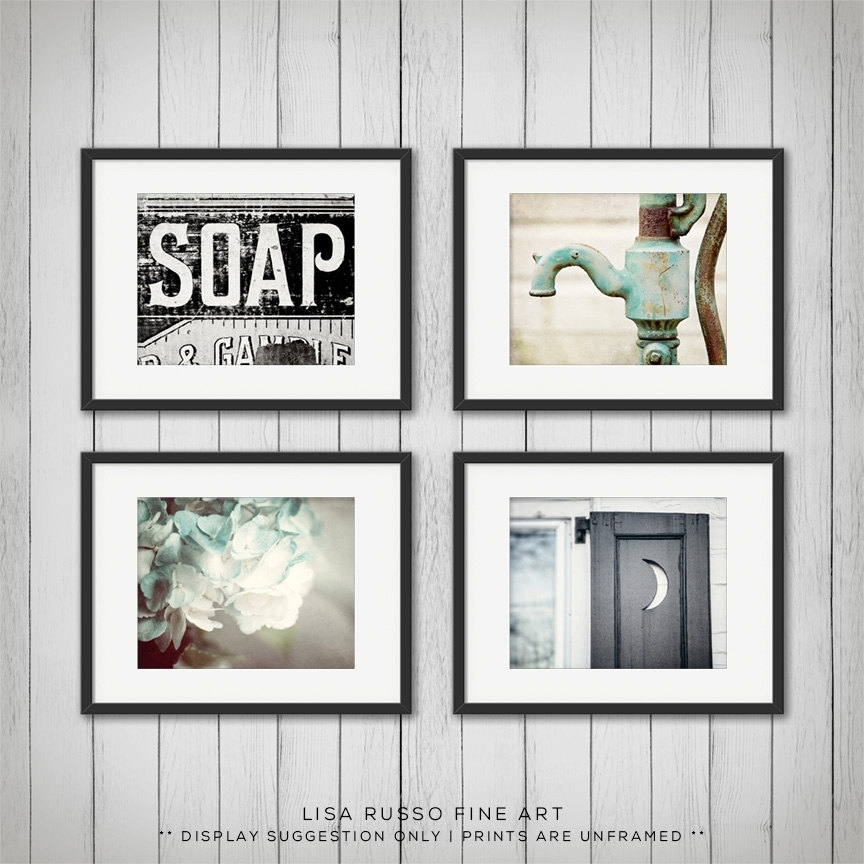 Rustic Bathroom Print Or Canvas Set Of 4 • Lisa Russo Fine Art Intended For Framed Art Prints For Bathroom (View 2 of 15)