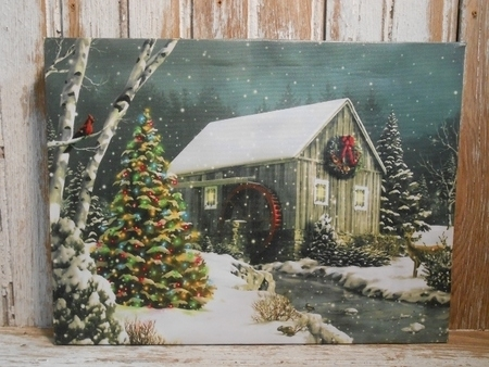 Rustic Country Watermill Christmas Lighted Canvas Art Pertaining To Lighted Canvas Wall Art (Image 10 of 15)
