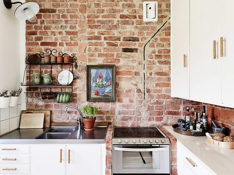 Rustic Exposed Brick Wall Accents In The Minimalist Kitchen Design For Wall Accents Cabinets (Image 13 of 15)