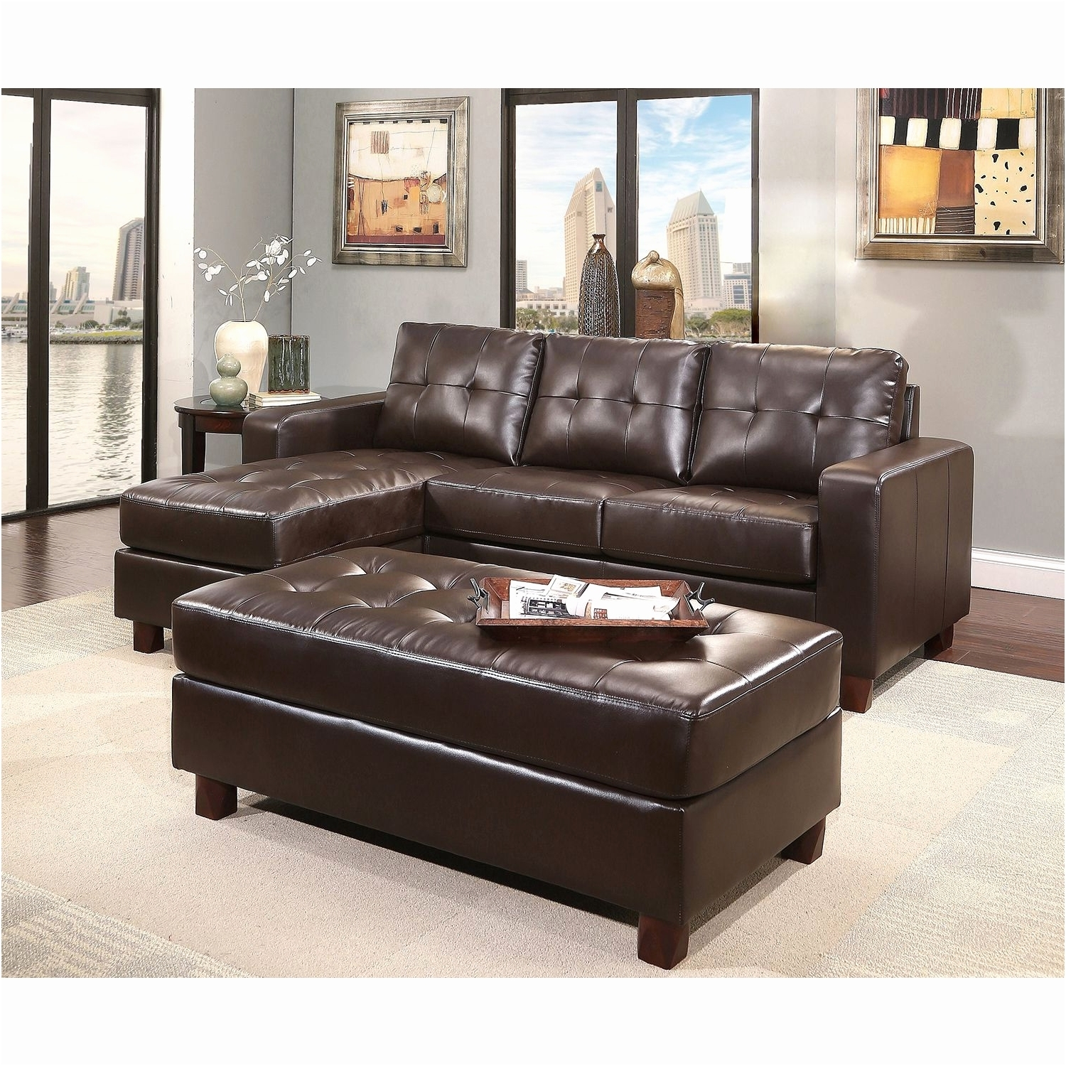 Rustic Sectional Sofas Fresh Claremont Leather Reversible Chaise Intended For Sectional Sofas At Sam's Club (Image 9 of 10)