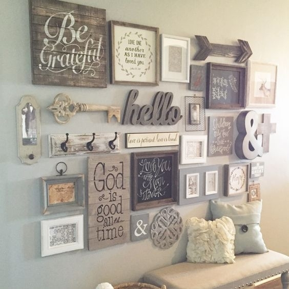 Rustic Vintage Gallery Wall | Kitchen Ideas | Pinterest | Gallery With Antique Wall Accents (Image 11 of 15)