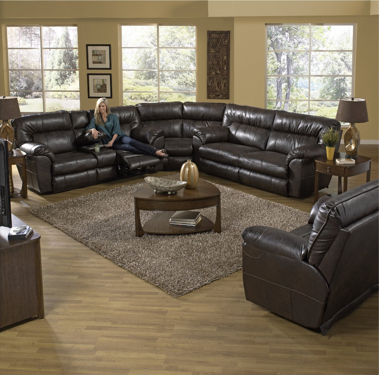 Ryan 3 Piece Reclining Sectional   Hom Furniture For Duluth Mn Sectional Sofas (Image 5 of 10)