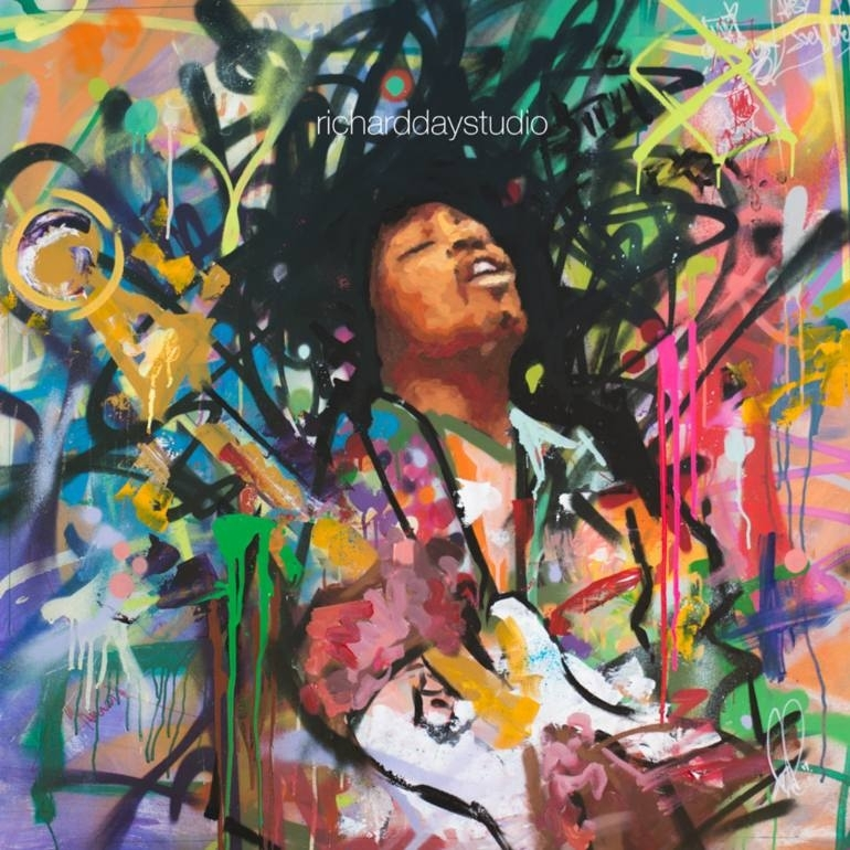 "Saatchi Art: Jimi Hendrix, Original Painting, 40"", Art, Music Throughout Graffiti Canvas Wall Art (Image 12 of 15)"