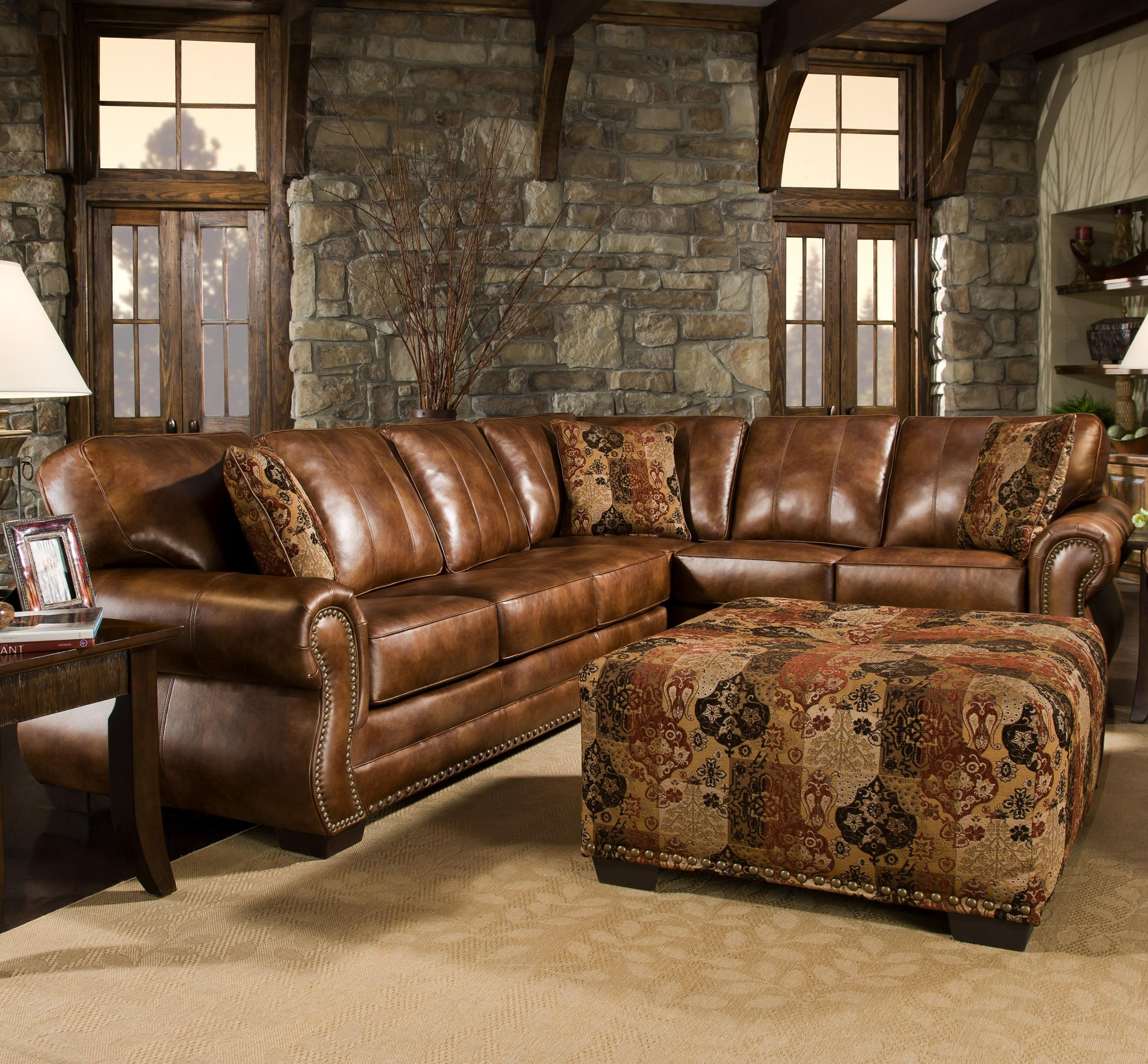 Saddle Sectional With Studs, Two Piece Sectional, Rustic, Western With Ivan Smith Sectional Sofas (Image 10 of 10)