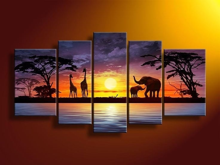 Safari Home Decor | Safari Painting | Safari Living Room Intended For Oil Paintings Canvas Wall Art (View 15 of 15)