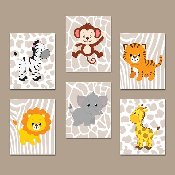 Safari Jungle Animals Wall Art Jungle Animals Nursery Decor Inside Safari Canvas Wall Art (View 9 of 15)