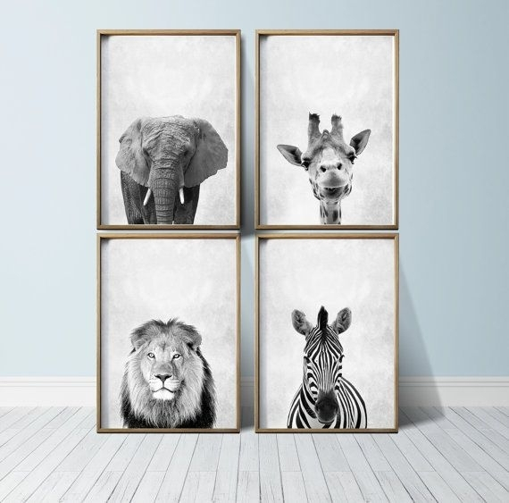 Safari Nursery Art Nursery Safari Prints Safari Wall Art Nursery With Framed Animal Art Prints (View 7 of 15)