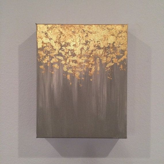 Sale Gold Leaf Painting, Abstract Gold Leaf Painting, 8X10 Wall Inside Abstract Leaves Wall Art (Image 13 of 15)