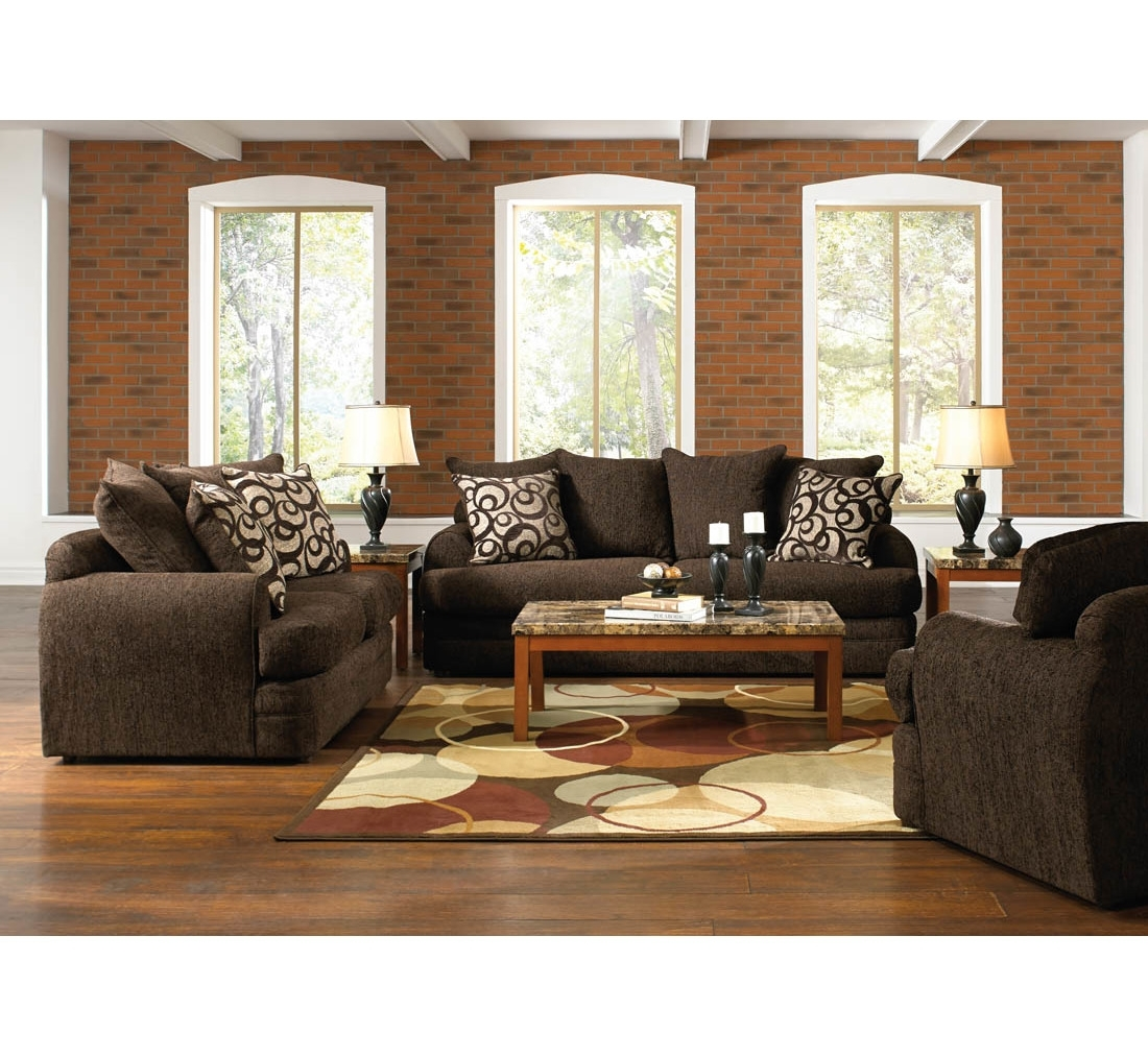 Santa Cruz Brown 14Pc Living Room Group | Badcock &more | Furniture With Sectional Sofas At Badcock (View 8 of 10)