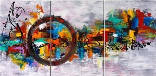 Santin Art Circle Of Magic Modern Canvas Art Wall Decor Abstract For Abstract Oil Painting Wall Art (Image 12 of 15)