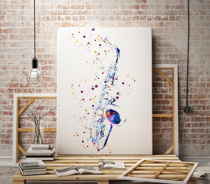 Saxophone – Sax – Jazz Music – Watercolor Art Print – Abstract Throughout Abstract Music Wall Art (Image 13 of 15)