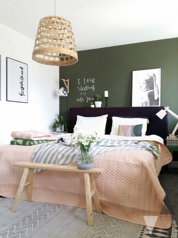 Scandinavian Style Bedroom With Dark Green Wall (Image 12 of 15)
