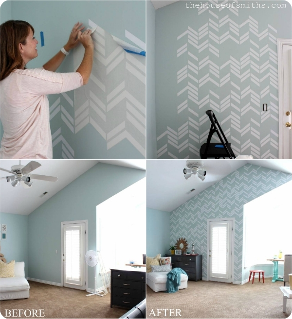 Scattered Herringbone Wall Decal – Thehouseofsmithsdesigns Regarding Wall Accent Decals (Image 12 of 15)