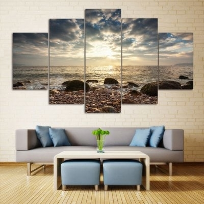 Sea Stone Beach Print Wall Art Split Canvas Paintings 1Pc:10*24 With Regard To Canvas Wall Art Of Philippines (View 7 of 15)