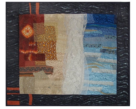 Seascape Large Art Quilt Abstract Landscape Textile Wall Inside Abstract Textile Wall Art (Image 13 of 15)
