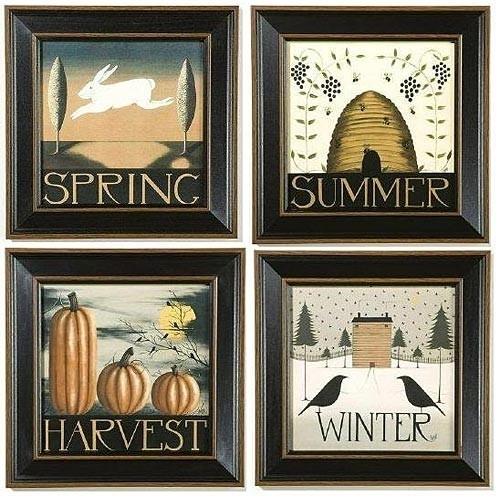 Seasons Folk Art Prints | Primitive Art Dianna Swartz | Sturbridge Intended For Framed Folk Art Prints (View 7 of 15)