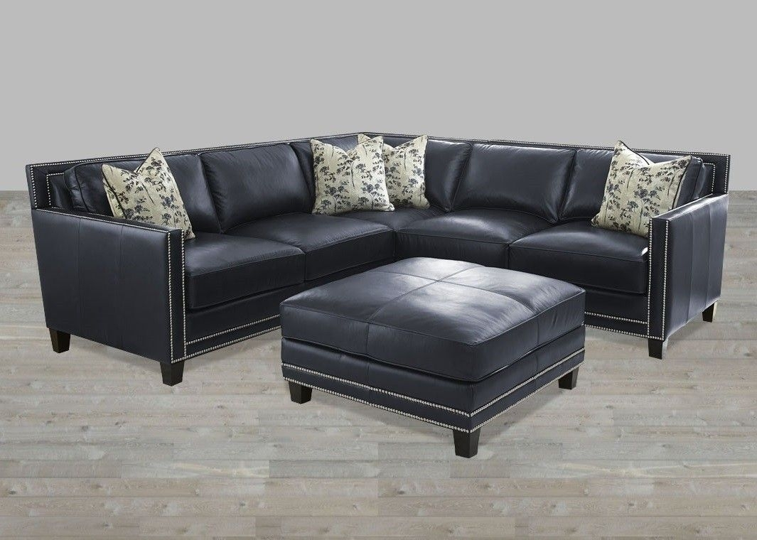 Sectional Blue Silver Nailheads Top Grain Leather Ottoman Pertaining To Sectional Sofas With Nailheads (Image 5 of 10)
