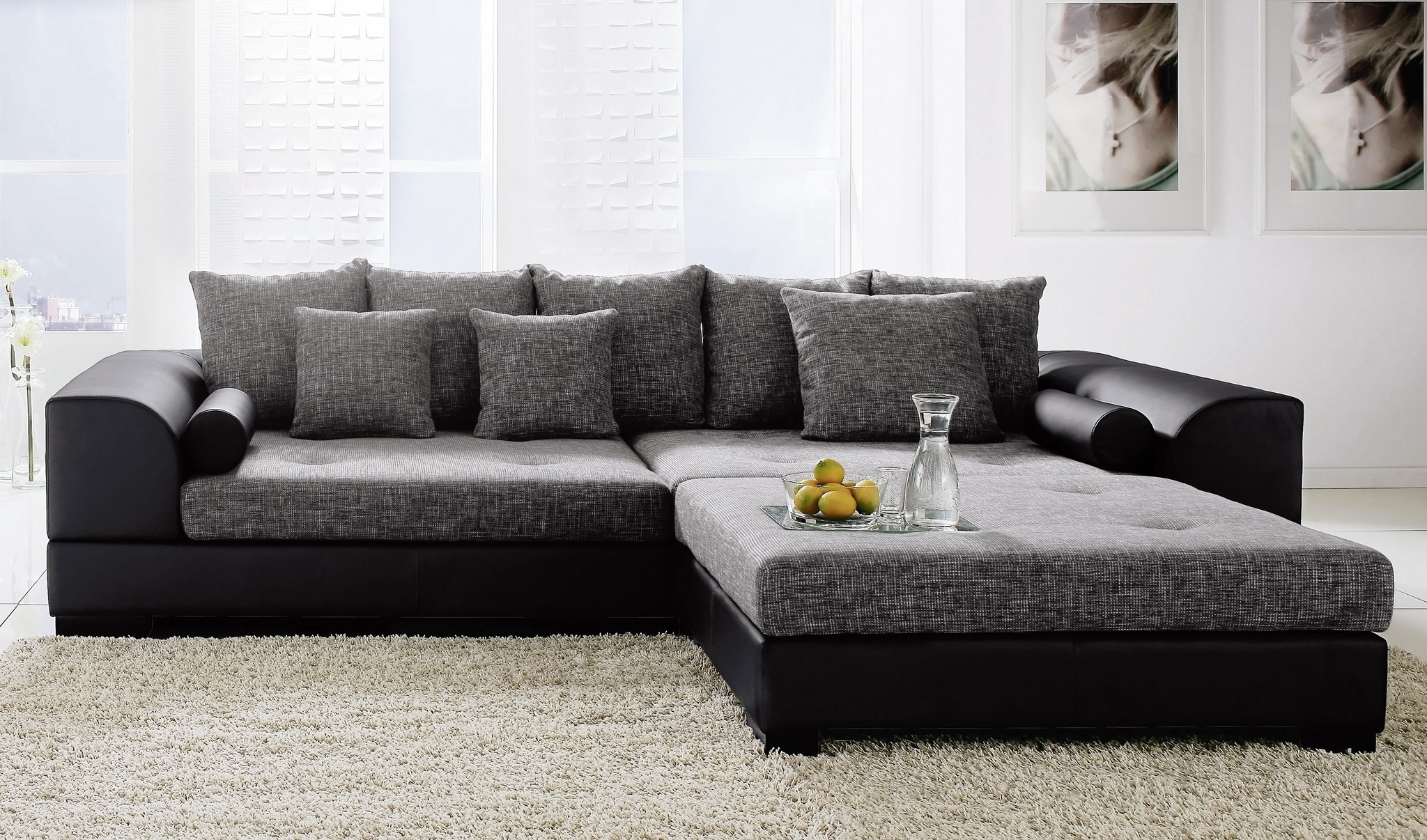 Sectional Couches With Ottoman Brown Suede Couch Waffle Modern For Couches With Large Ottoman (View 7 of 10)