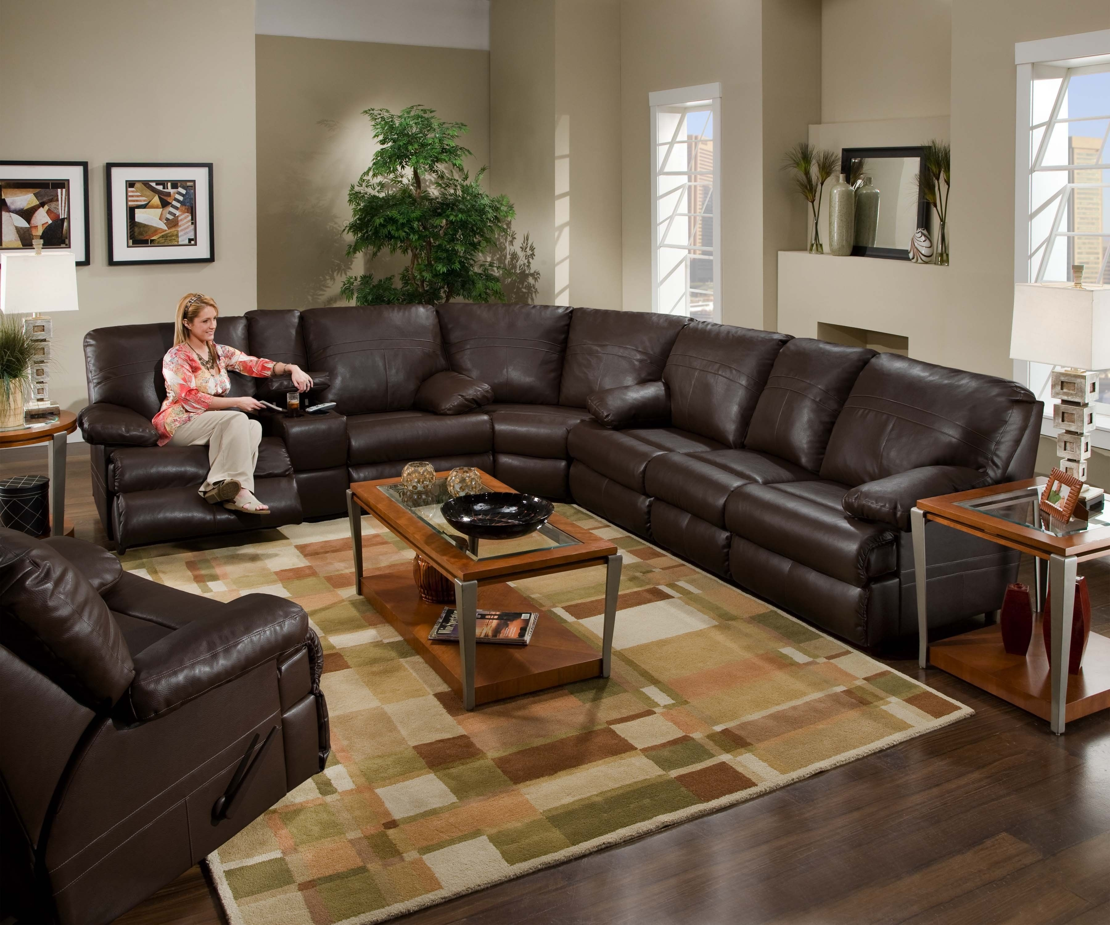 Sectional Leather Couch With Recliners. (Image 8 of 10)
